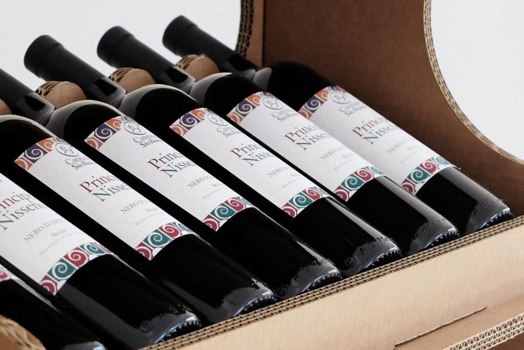 Dettaglio di un Espositore da vino da terra serie GreenExpo